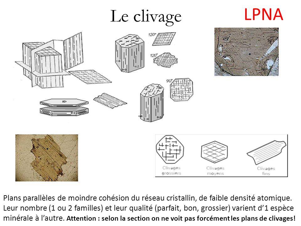 Le clivage LPNA Plans parallèles de moindre cohésion du réseau cristallin, de faible densité atomique. Leur nombre (1 ou 2 familles) et leur qualité (