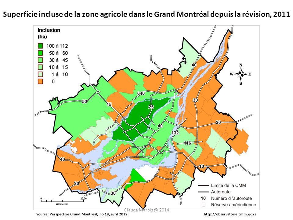 Source: Perspective Grand Montréal, no 18, avril 2012.http://observatoire.cmm.qc.ca Superficie incluse de la zone agricole dans le Grand Montréal depuis la révision, 2011 Claude Marois @ 2014
