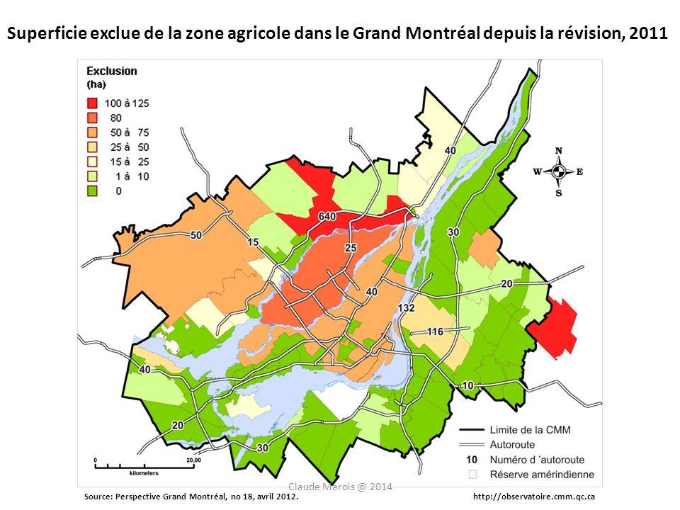 Source: Perspective Grand Montréal, no 18, avril 2012.http://observatoire.cmm.qc.ca Superficie exclue de la zone agricole dans le Grand Montréal depuis la révision, 2011 Claude Marois @ 2014