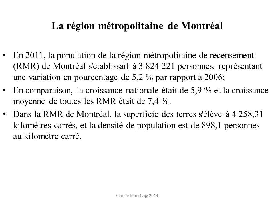 La région métropolitaine de Montréal En 2011, la population de la région métropolitaine de recensement (RMR) de Montréal s établissait à 3 824 221 personnes, représentant une variation en pourcentage de 5,2 % par rapport à 2006; En comparaison, la croissance nationale était de 5,9 % et la croissance moyenne de toutes les RMR était de 7,4 %.