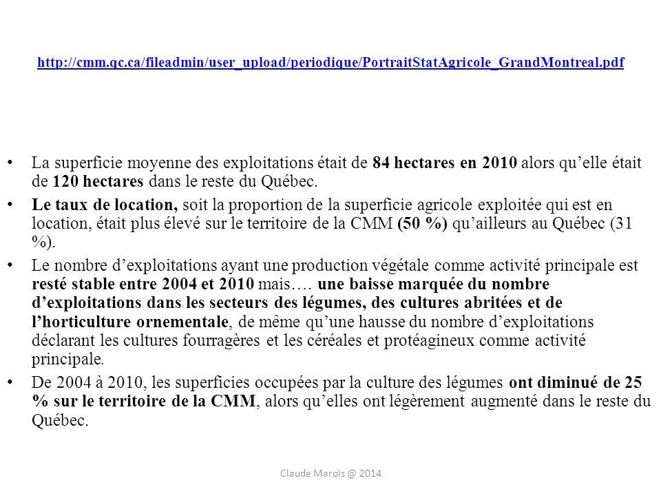 http://cmm.qc.ca/fileadmin/user_upload/periodique/PortraitStatAgricole_GrandMontreal.pdf La superficie moyenne des exploitations était de 84 hectares en 2010 alors quelle était de 120 hectares dans le reste du Québec.