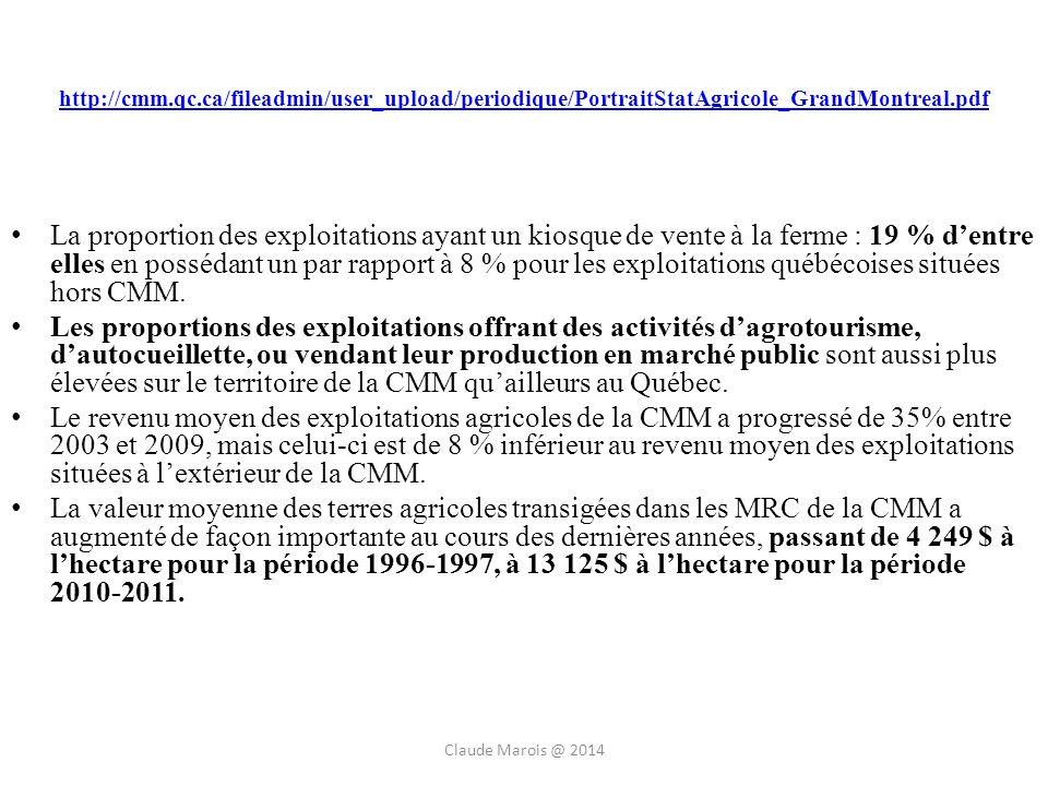 http://cmm.qc.ca/fileadmin/user_upload/periodique/PortraitStatAgricole_GrandMontreal.pdf La proportion des exploitations ayant un kiosque de vente à la ferme : 19 % dentre elles en possédant un par rapport à 8 % pour les exploitations québécoises situées hors CMM.