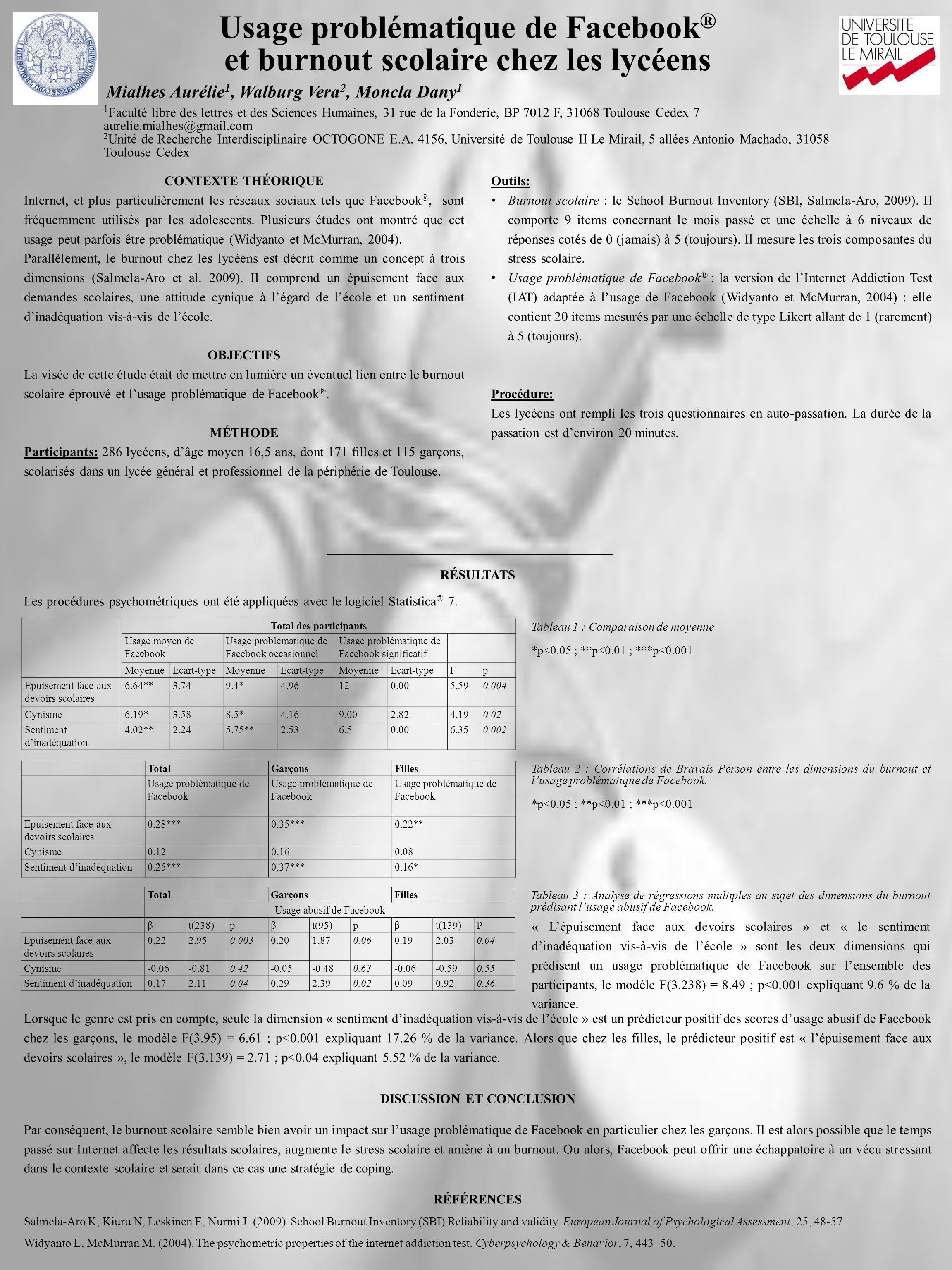 Mialhes Aurélie 1, Walburg Vera 2, Moncla Dany 1 1 Faculté libre des lettres et des Sciences Humaines, 31 rue de la Fonderie, BP 7012 F, 31068 Toulous