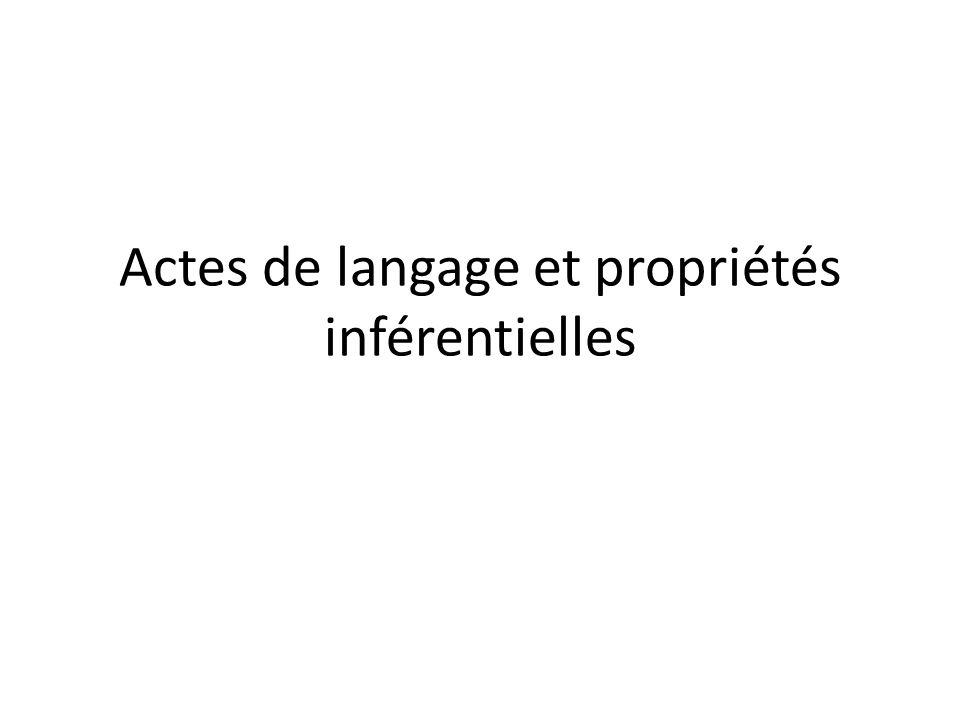 Actes de langage et propriétés inférentielles