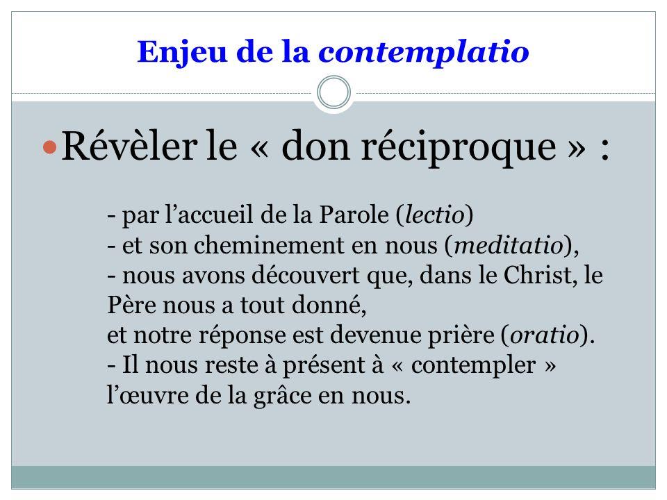 Enjeu de la contemplatio Révèler le « don réciproque » : - par laccueil de la Parole (lectio) - et son cheminement en nous (meditatio), - nous avons d
