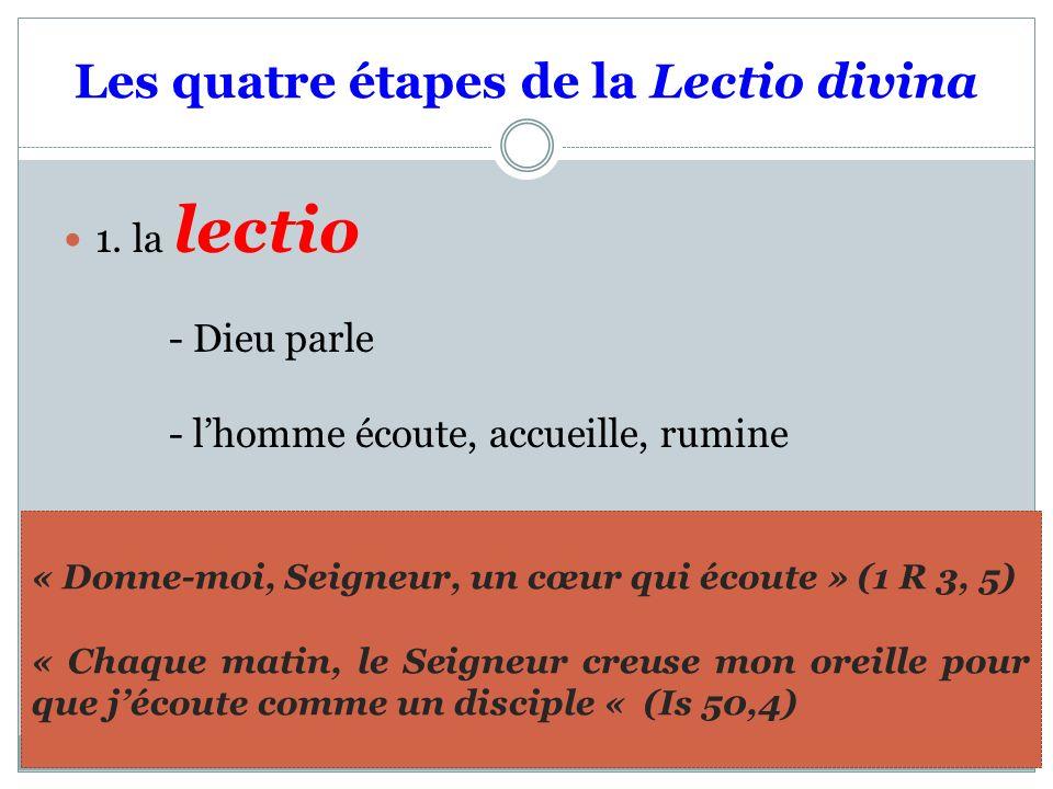 Les quatre étapes de la Lectio divina 1.