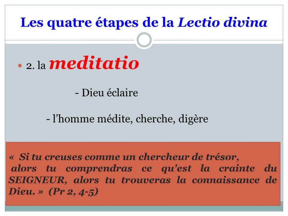 Les quatre étapes de la Lectio divina 2. la meditatio - Dieu éclaire - lhomme médite, cherche, digère « Si tu creuses comme un chercheur de trésor, al
