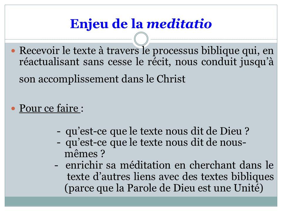 Enjeu de la meditatio Recevoir le texte à travers le processus biblique qui, en réactualisant sans cesse le récit, nous conduit jusquà son accomplissement dans le Christ Pour ce faire : - quest-ce que le texte nous dit de Dieu .
