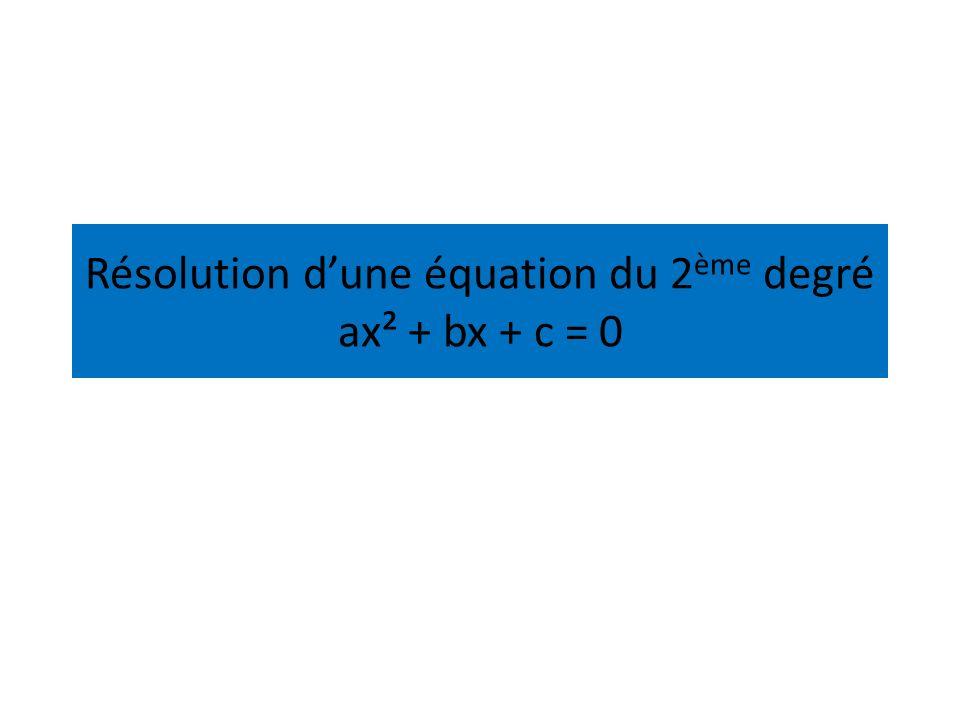 Résolution dune équation du 2 ème degré ax² + bx + c = 0