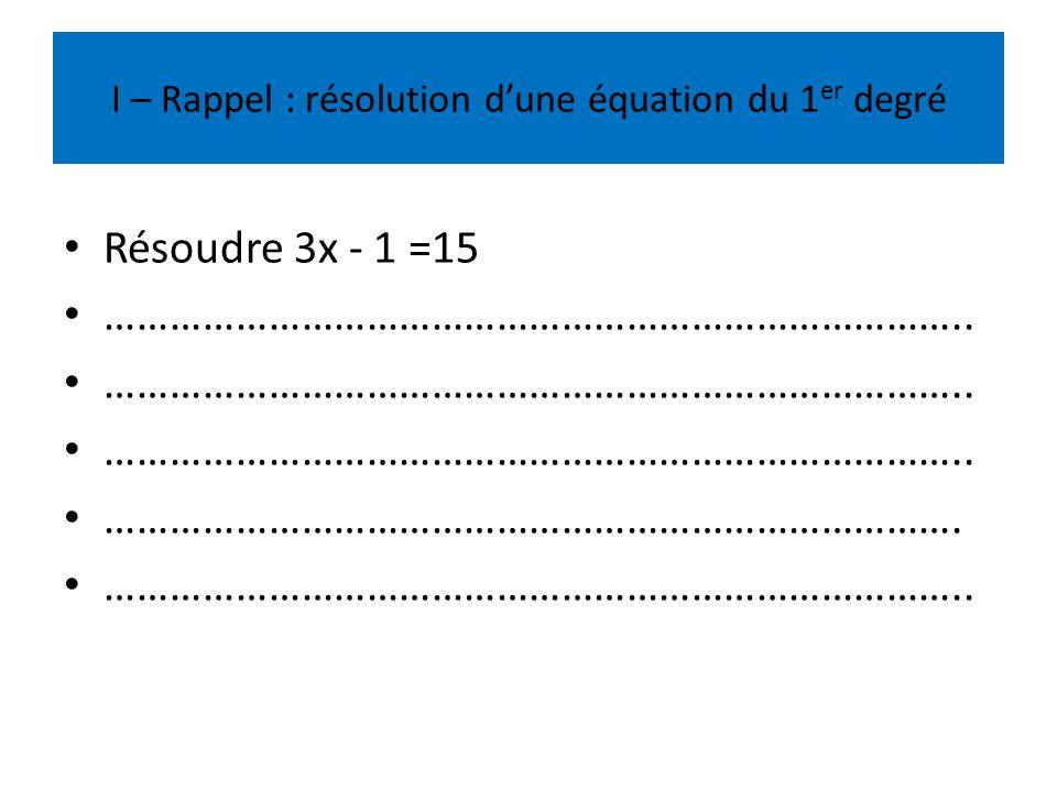 I – Rappel : résolution dune équation du 1 er degré Résoudre 3x - 1 =15 …………………………………………………………………….. ……………………………………………………………………. ………………………………………………………
