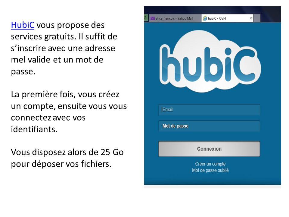 HubiCHubiC vous propose des services gratuits. Il suffit de sinscrire avec une adresse mel valide et un mot de passe. La première fois, vous créez un