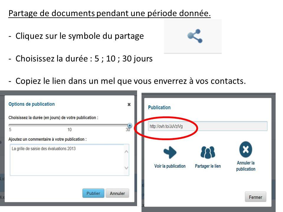 Partage de documents pendant une période donnée. - Cliquez sur le symbole du partage - Choisissez la durée : 5 ; 10 ; 30 jours - Copiez le lien dans u