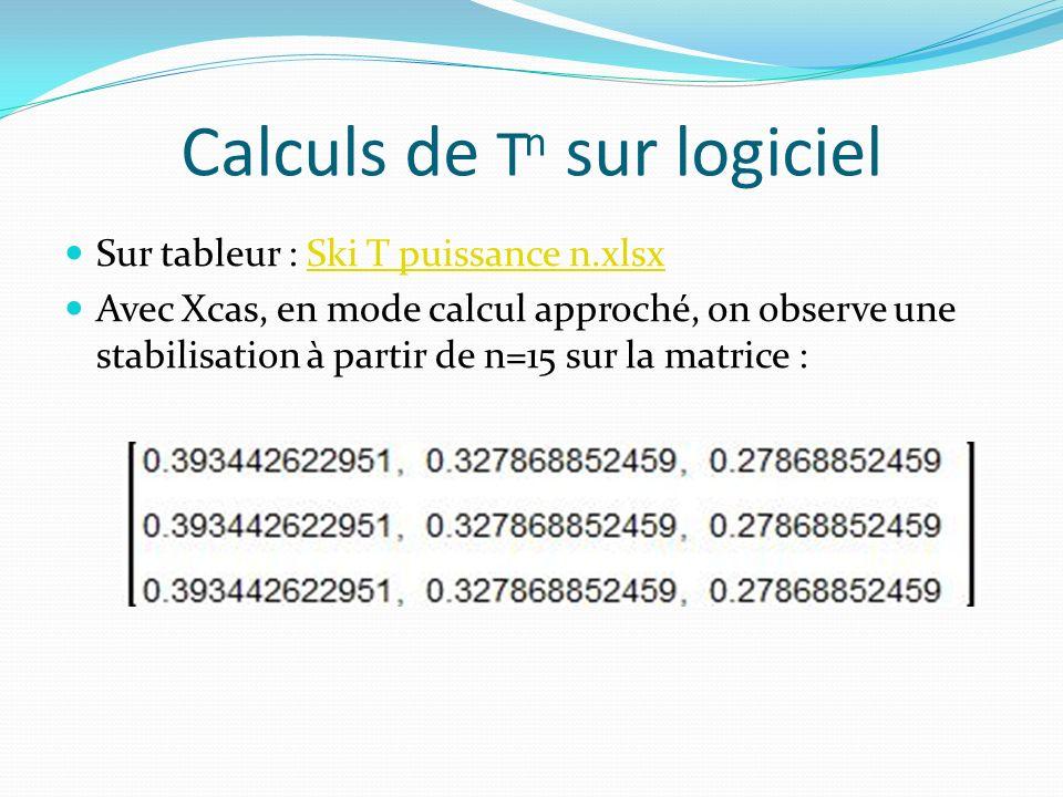 Calculs de T n sur logiciel Sur tableur : Ski T puissance n.xlsxSki T puissance n.xlsx Avec Xcas, en mode calcul approché, on observe une stabilisation à partir de n=15 sur la matrice :