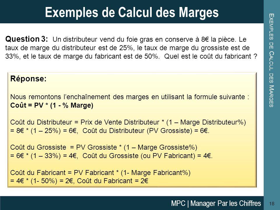 E XEMPLES DE C ALCUL DES M ARGES 18 Exemples de Calcul des Marges Réponse: Nous remontons lenchaînement des marges en utilisant la formule suivante :