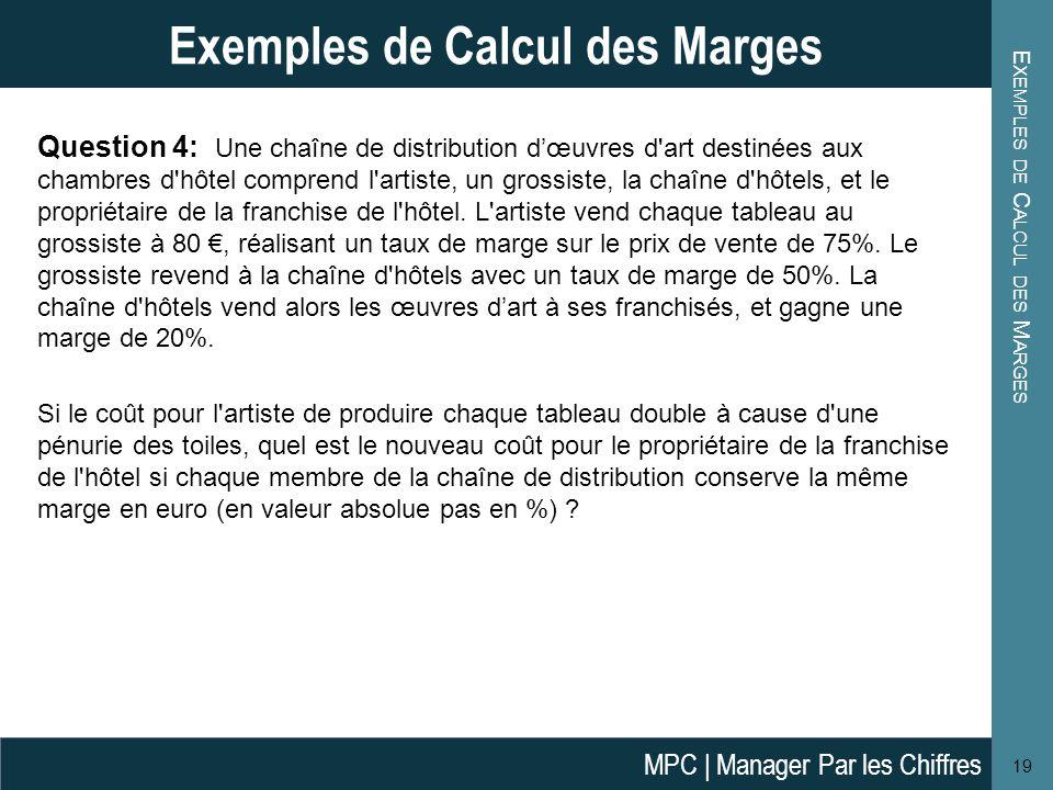 E XEMPLES DE C ALCUL DES M ARGES 19 Exemples de Calcul des Marges Question 4: Une chaîne de distribution dœuvres d'art destinées aux chambres d'hôtel