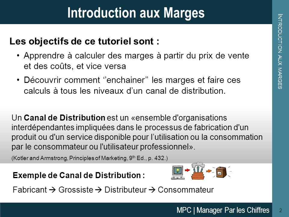 L E C ALCUL DES M ARGES 3 Le Calcul des Marges Coût de Production .