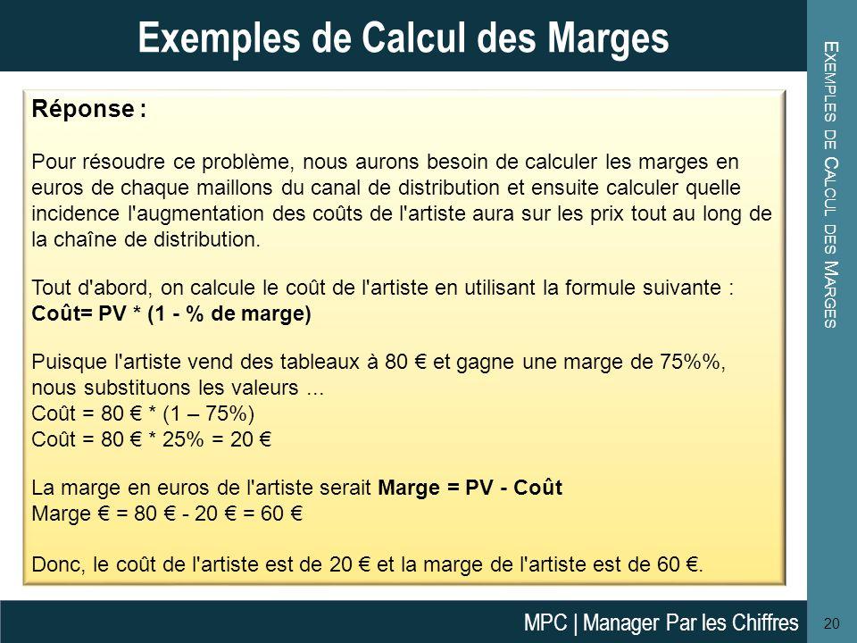 E XEMPLES DE C ALCUL DES M ARGES 20 Exemples de Calcul des Marges Réponse : Pour résoudre ce problème, nous aurons besoin de calculer les marges en eu