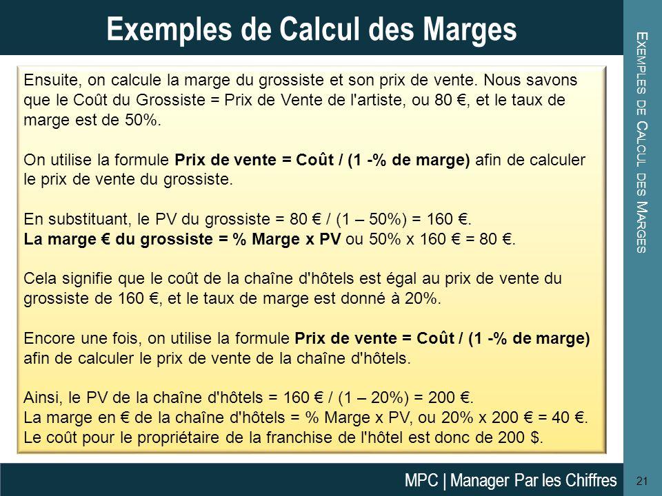 E XEMPLES DE C ALCUL DES M ARGES 21 Exemples de Calcul des Marges Ensuite, on calcule la marge du grossiste et son prix de vente. Nous savons que le C