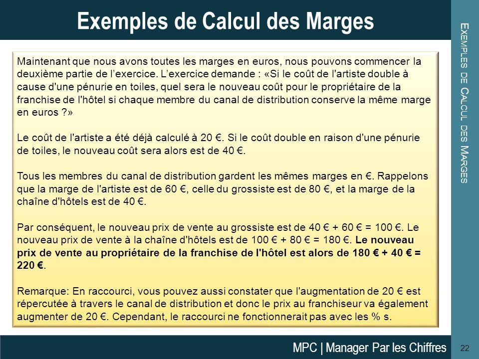E XEMPLES DE C ALCUL DES M ARGES 22 Exemples de Calcul des Marges Maintenant que nous avons toutes les marges en euros, nous pouvons commencer la deux