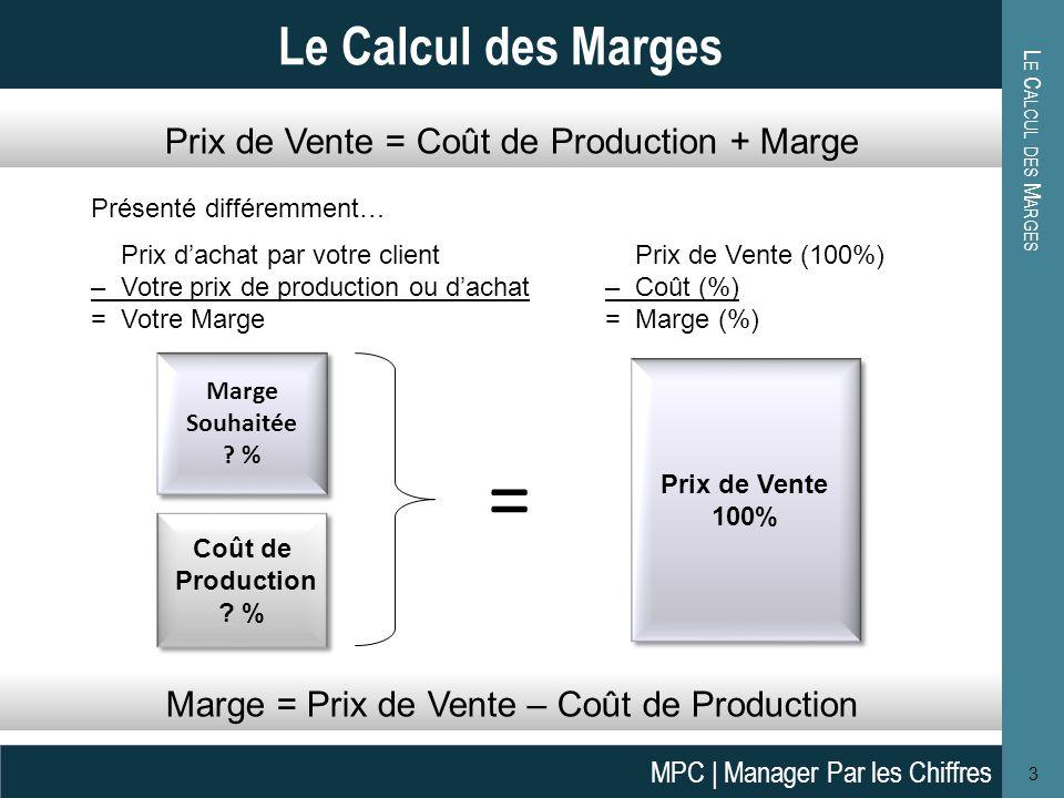 L E C ALCUL DES M ARGES 4 Le Calcul des Marges Un Exemple: Si le prix de vente (PV) est de 10,00, le coût est de 4,00, la marge est donc égale à 6,00.