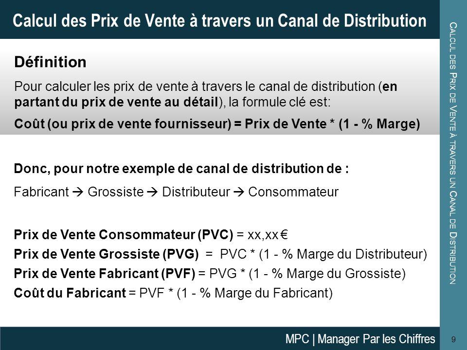E XEMPLES DE C ALCUL DES M ARGES 10 Exemples de Calcul des Marges Imaginons un canal de distribution pour la vente de lhuile dargan marocaine en Allemagne.