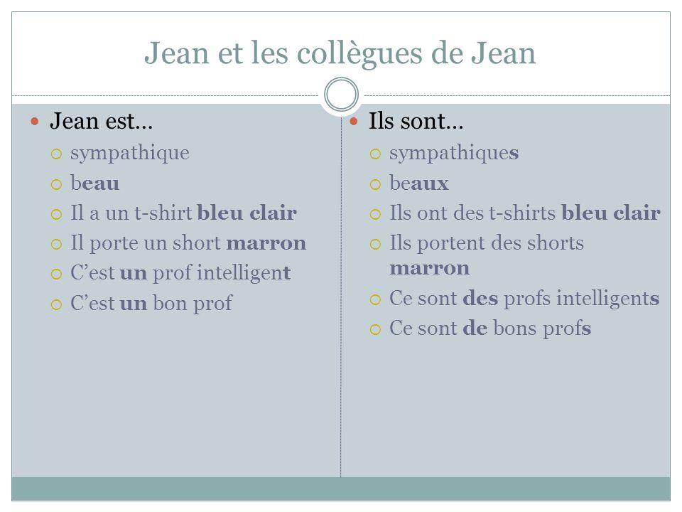 Jean et les collègues de Jean Jean est… sympathique beau Il a un t-shirt bleu clair Il porte un short marron Cest un prof intelligent Cest un bon prof
