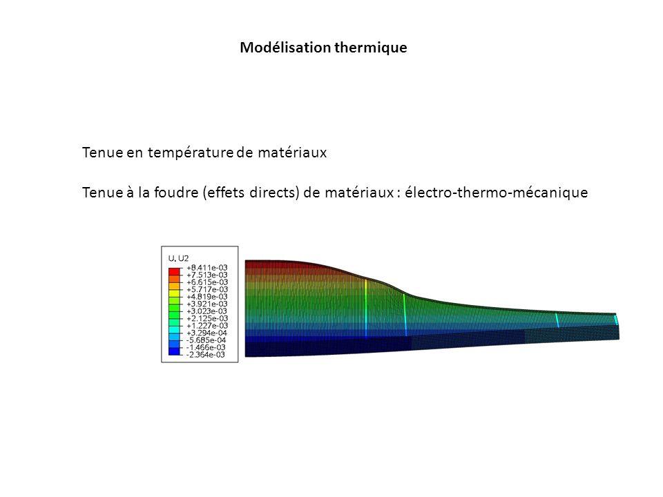Modélisation thermique Tenue en température de matériaux Tenue à la foudre (effets directs) de matériaux : électro-thermo-mécanique