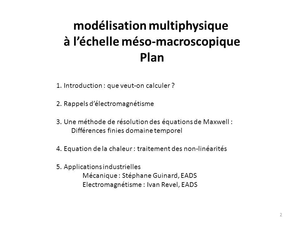 modélisation multiphysique à léchelle méso-macroscopique Plan 1.