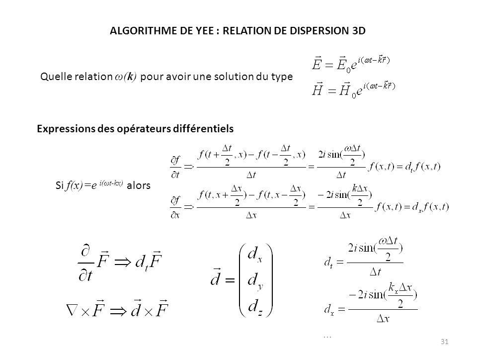 31 ALGORITHME DE YEE : RELATION DE DISPERSION 3D Quelle relation ω(k) pour avoir une solution du type Expressions des opérateurs différentiels Si f(x)=e i(ωt-kx) alors