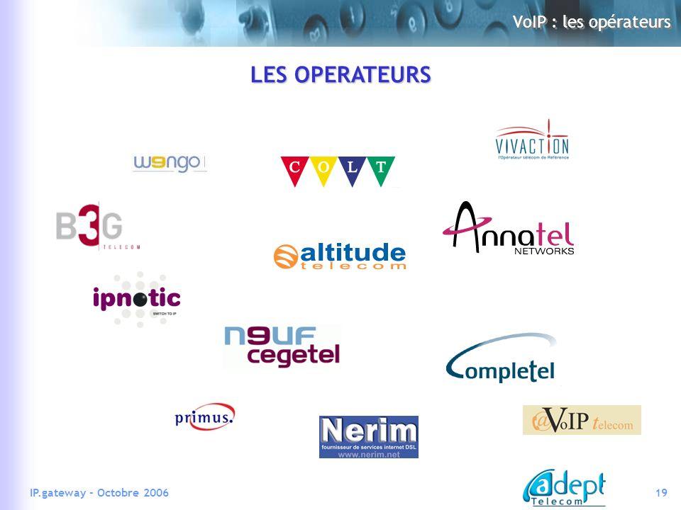 19IP.gateway - Octobre 2006 VoIP : les opérateurs LES OPERATEURS
