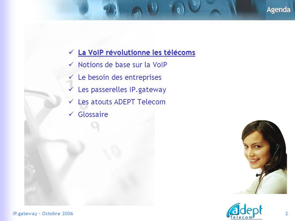 2IP.gateway - Octobre 2006 Agenda La VoIP révolutionne les télécoms La VoIP révolutionne les télécoms Notions de base sur la VoIP Le besoin des entreprises Les passerelles IP.gateway Les atouts ADEPT Telecom Glossaire