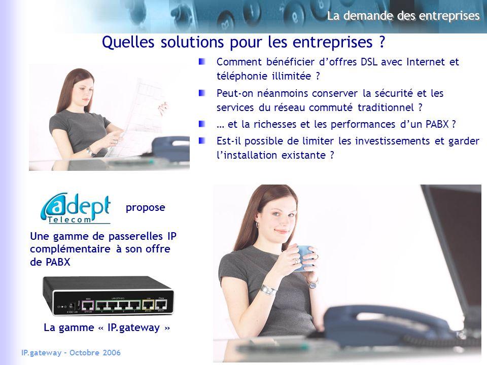 22IP.gateway - Octobre 2006 La demande des entreprises Quelles solutions pour les entreprises .