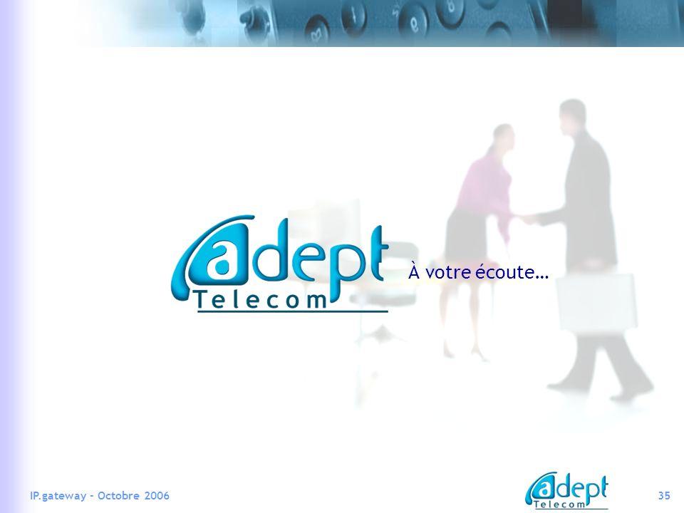 35IP.gateway - Octobre 2006 À votre écoute…