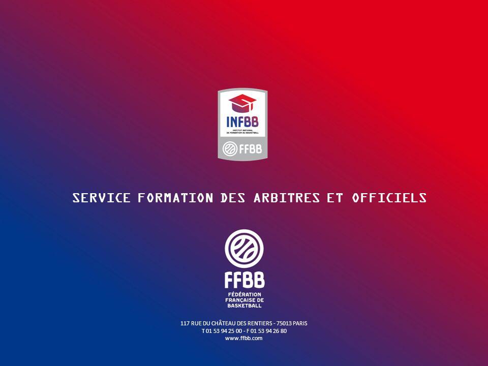 117 RUE DU CHÂTEAU DES RENTIERS - 75013 PARIS T 01 53 94 25 00 - F 01 53 94 26 80 www.ffbb.com SERVICE FORMATION DES ARBITRES ET OFFICIELS