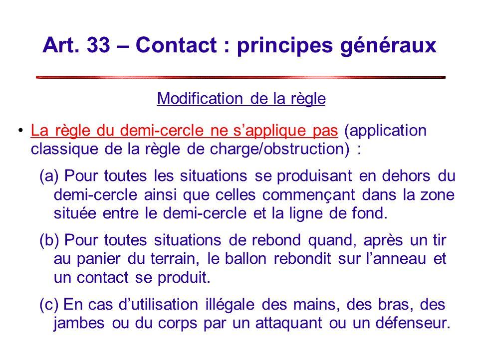 Art. 33 – Contact : principes généraux Modification de la règle Larègle du demi-cercle ne sapplique pas (application classique de la règle de charge/o