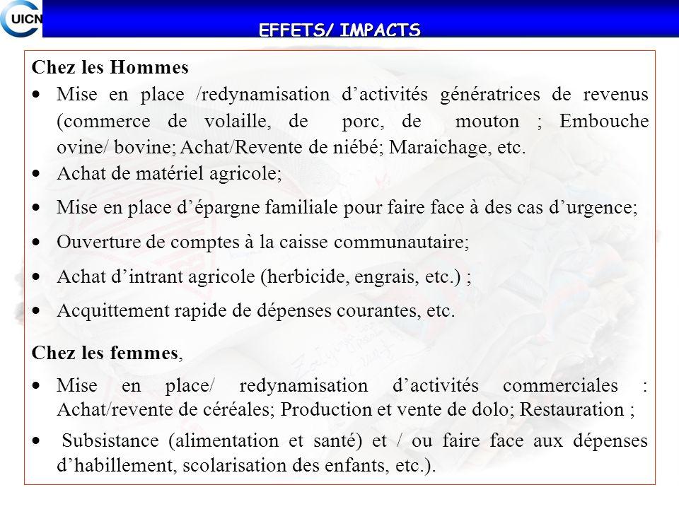 EFFETS/ IMPACTS Chez les Hommes Mise en place /redynamisation dactivités génératrices de revenus (commerce de volaille, de porc, de mouton ; Embouche