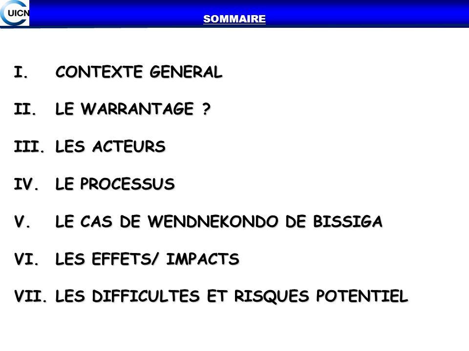 I.CONTEXTE GENERAL II.LE WARRANTAGE ? III.LES ACTEURS IV.LE PROCESSUS V.LE CAS DE WENDNEKONDO DE BISSIGA VI.LES EFFETS/ IMPACTS VII.LES DIFFICULTES ET