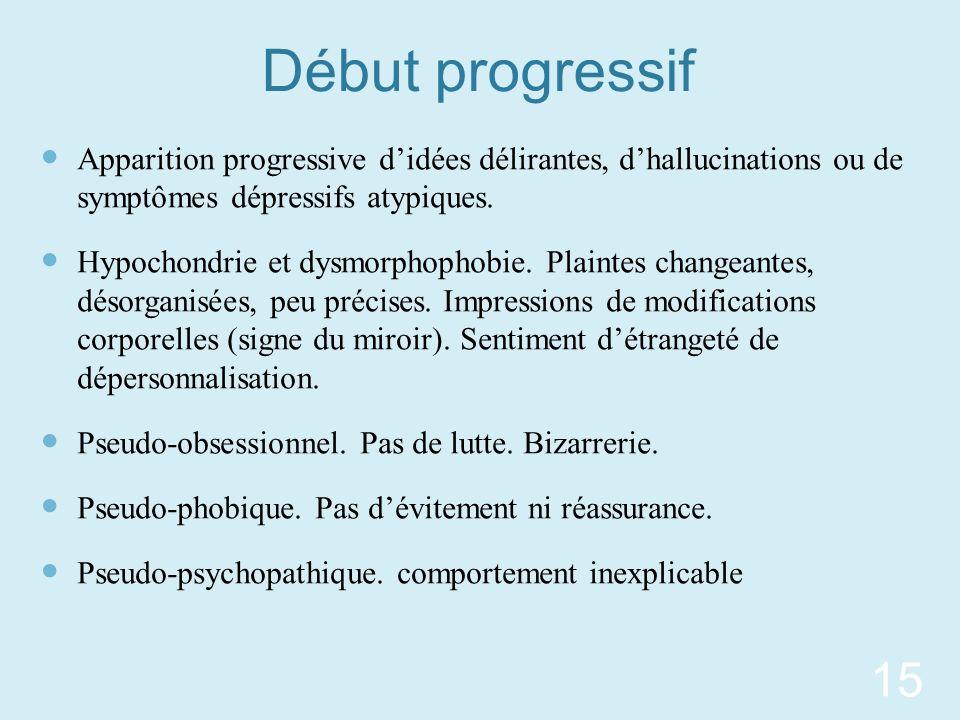 Début progressif Apparition progressive didées délirantes, dhallucinations ou de symptômes dépressifs atypiques. Hypochondrie et dysmorphophobie. Plai