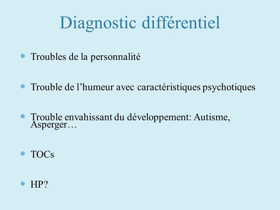 Diagnostic différentiel Troubles de la personnalité Trouble de lhumeur avec caractéristiques psychotiques Trouble envahissant du développement: Autism