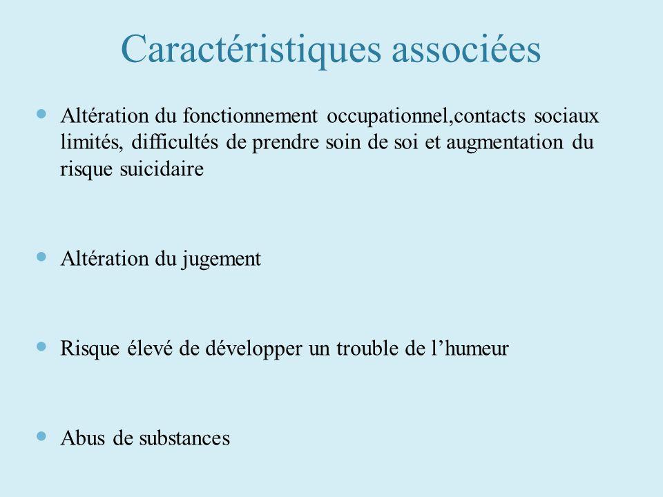 Caractéristiques associées Altération du fonctionnement occupationnel,contacts sociaux limités, difficultés de prendre soin de soi et augmentation du