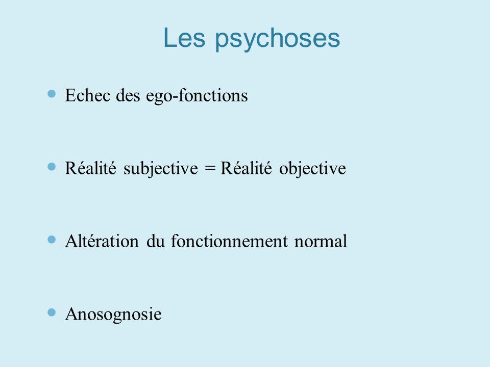 Les psychoses Echec des ego-fonctions Réalité subjective = Réalité objective Altération du fonctionnement normal Anosognosie