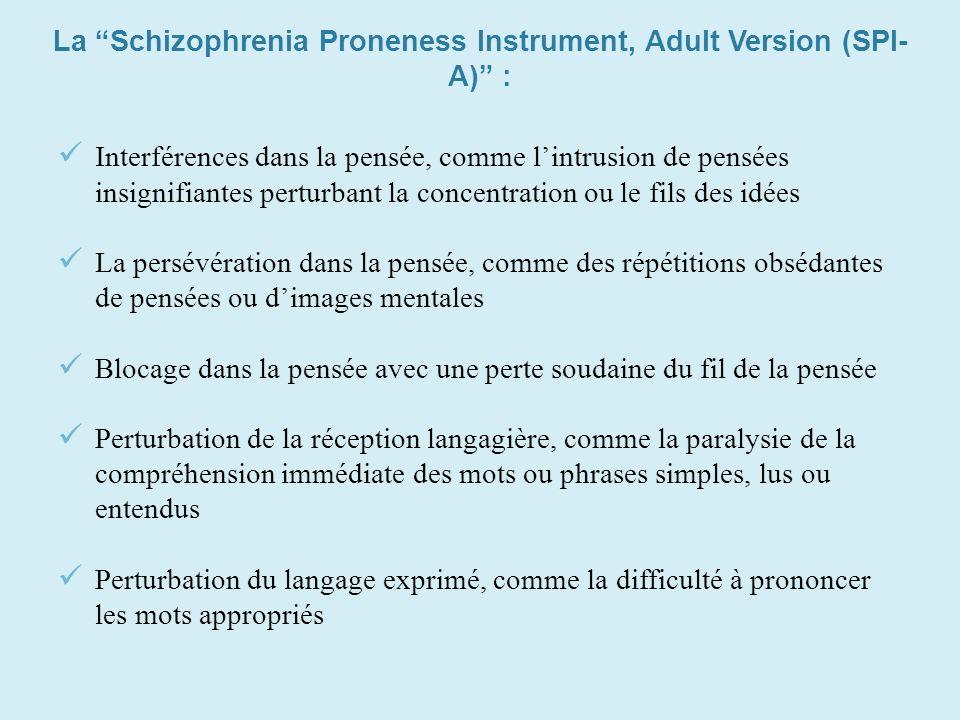 La Schizophrenia Proneness Instrument, Adult Version (SPI- A) : Interférences dans la pensée, comme lintrusion de pensées insignifiantes perturbant la