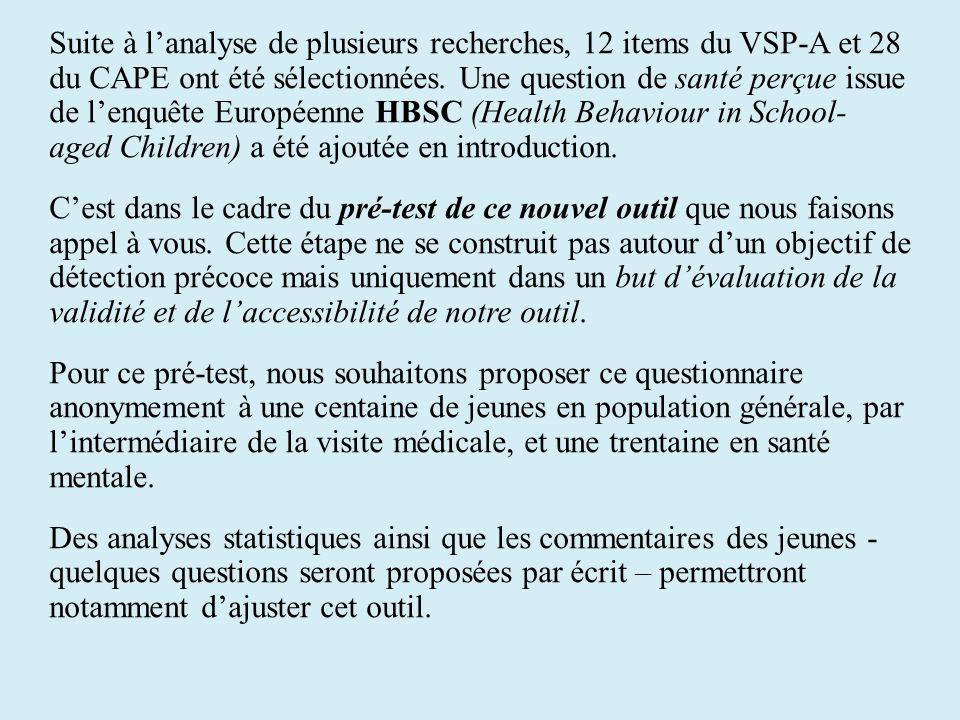 Suite à lanalyse de plusieurs recherches, 12 items du VSP-A et 28 du CAPE ont été sélectionnées. Une question de santé perçue issue de lenquête Europé