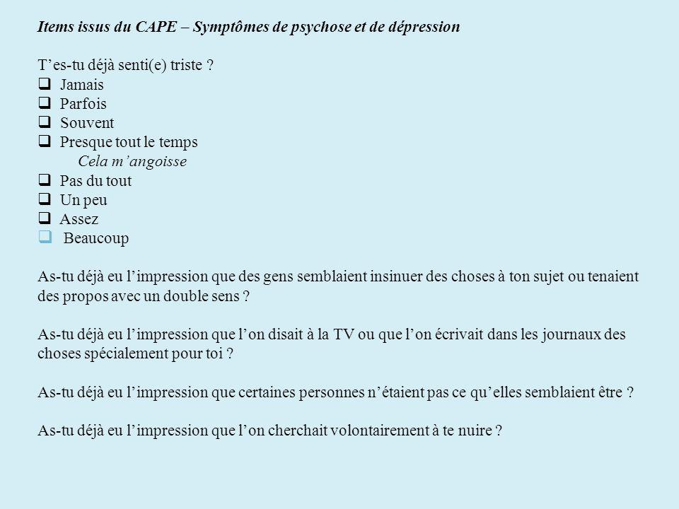 Items issus du CAPE – Symptômes de psychose et de dépression Tes-tu déjà senti(e) triste ? Jamais Parfois Souvent Presque tout le temps Cela mangoisse