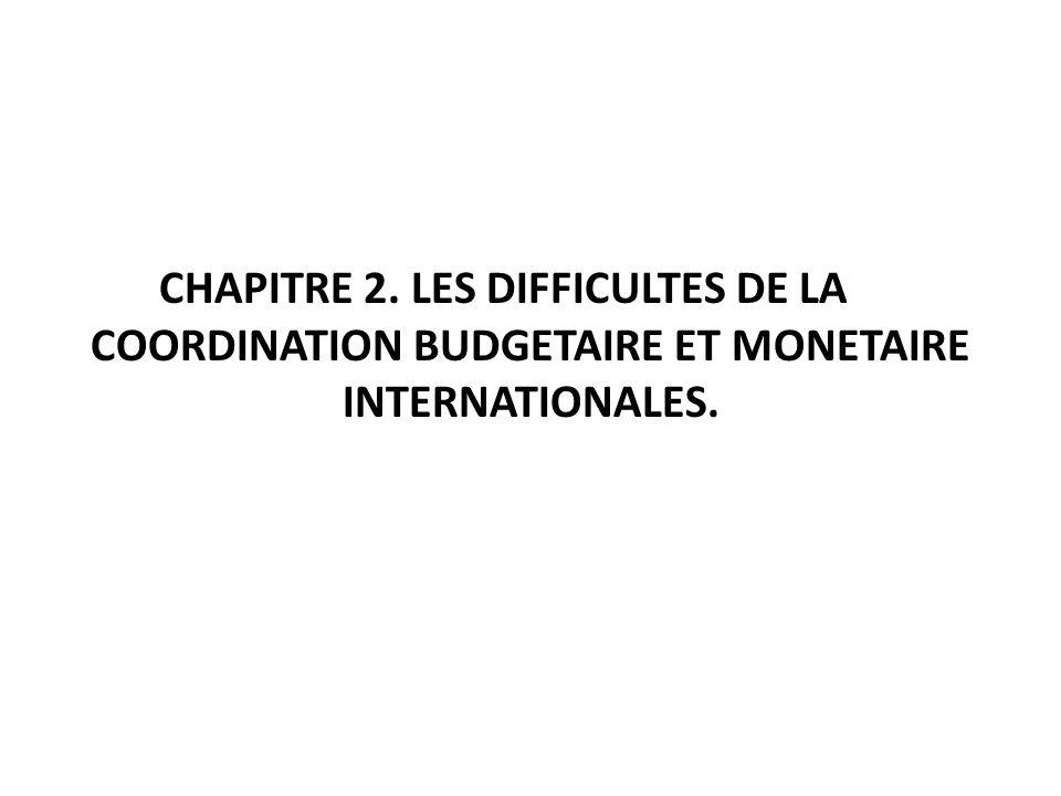 CHAPITRE 2. LES DIFFICULTES DE LA COORDINATION BUDGETAIRE ET MONETAIRE INTERNATIONALES.