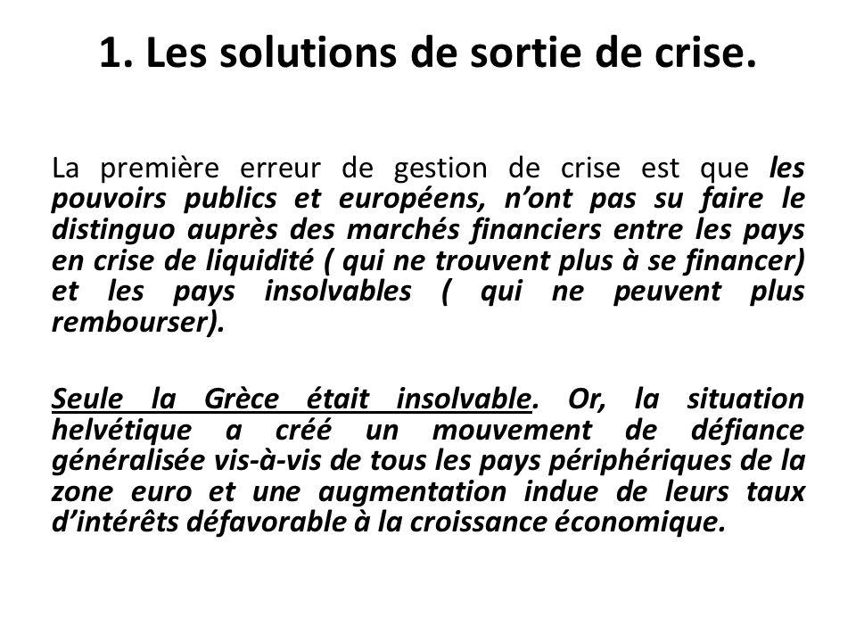 La première erreur de gestion de crise est que les pouvoirs publics et européens, nont pas su faire le distinguo auprès des marchés financiers entre l