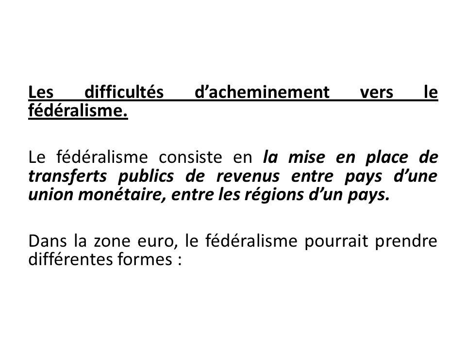 Les difficultés dacheminement vers le fédéralisme. Le fédéralisme consiste en la mise en place de transferts publics de revenus entre pays dune union