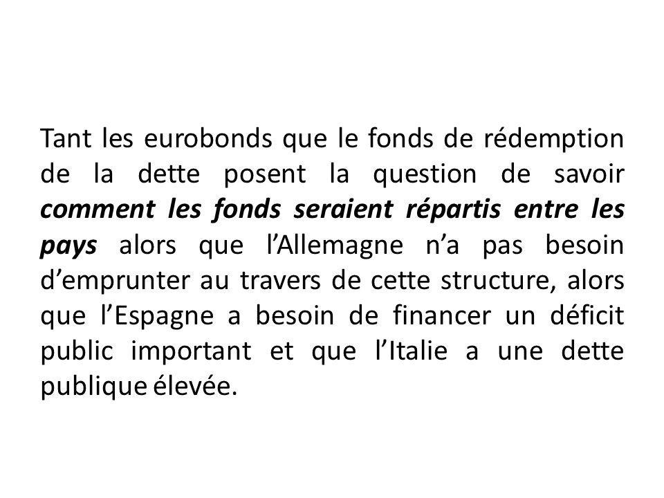 Tant les eurobonds que le fonds de rédemption de la dette posent la question de savoir comment les fonds seraient répartis entre les pays alors que lA