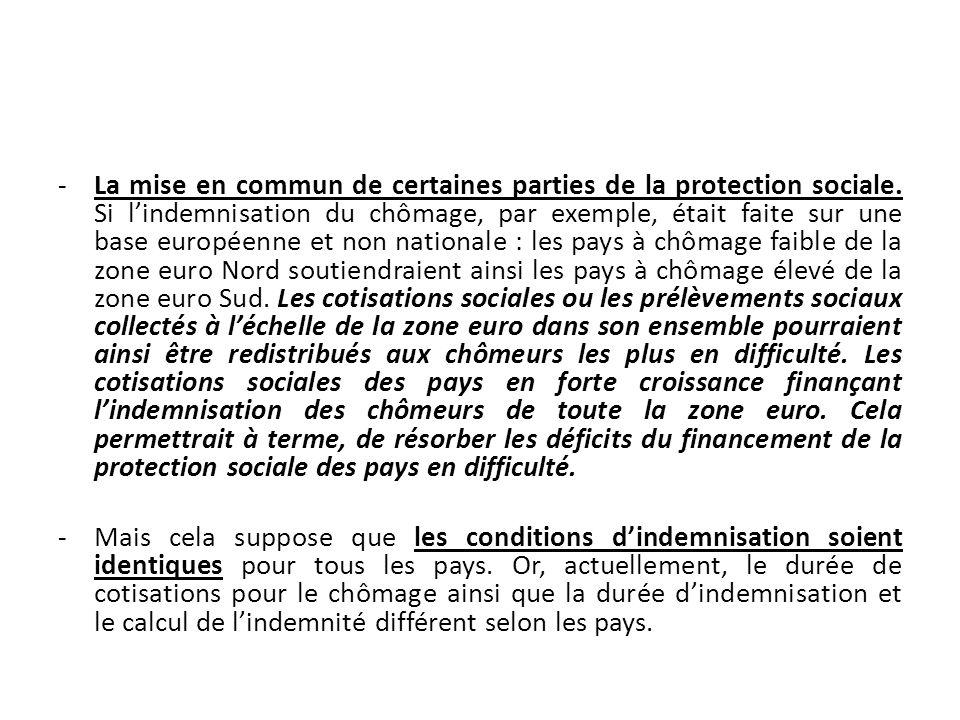 -La mise en commun de certaines parties de la protection sociale. Si lindemnisation du chômage, par exemple, était faite sur une base européenne et no
