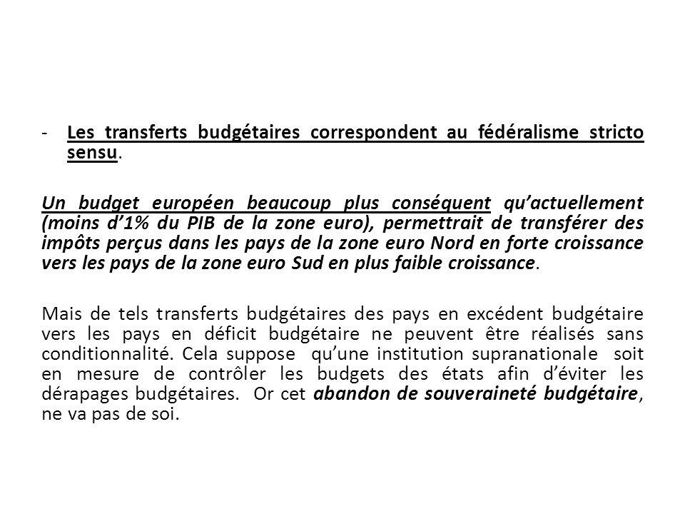 -Les transferts budgétaires correspondent au fédéralisme stricto sensu. Un budget européen beaucoup plus conséquent quactuellement (moins d1% du PIB d